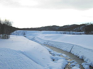 Anano River - View to the south from the Ananokawa Bridge (December 2004)