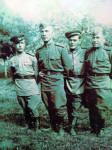 Andrey Korsakov and his army squad, WWII.