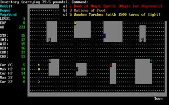 Roguelike - Moria and its descendants, including Angband from which this screenshot is from, incorporated a fixed town level where players could buy and sell equipment.