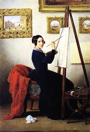 Amanzia Guérillot - Portrait of  Amanzia Guérillot in her studio (1847/1848),  by Angelo Inganni.