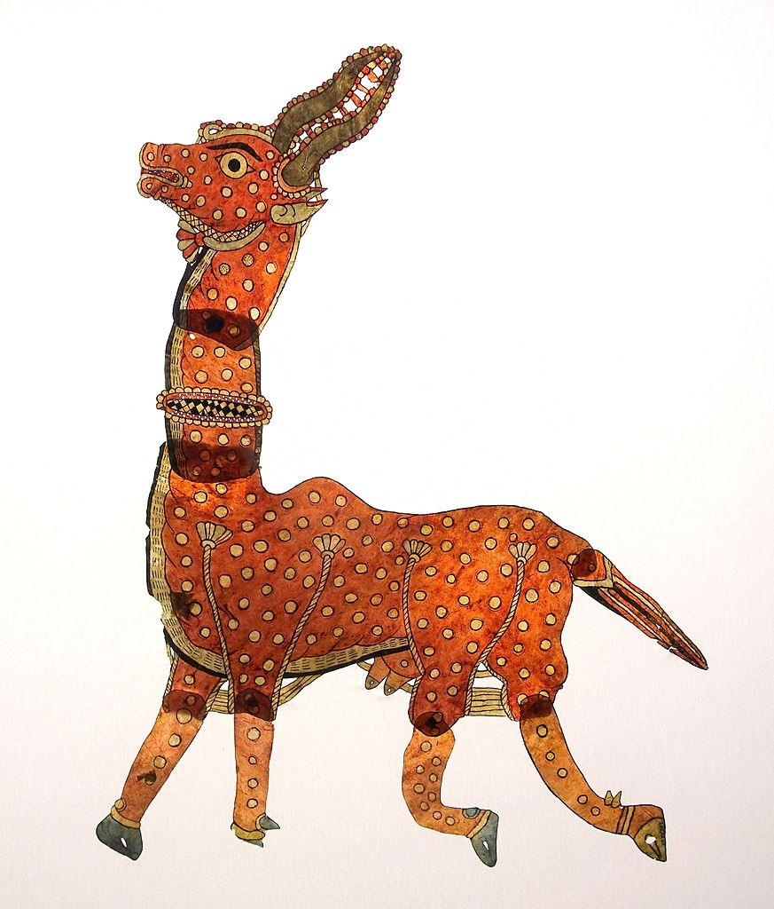 Marionnette indienne pour du théâtre d'ombres au musée d'Orient à Lisbonne.