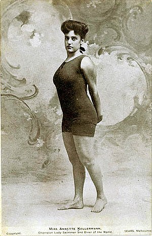 One-piece swimsuit - Annette Kellerman in the form-fitting one-piece tank suit that got her arrested in 1907