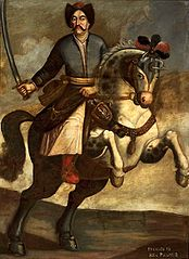 Portrait of John III Sobieski on horseback.