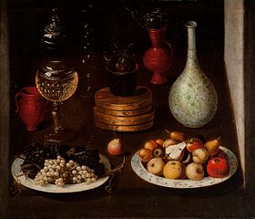Fruit Bowl with Plates of Grapes and Pears, glass and clay Vessels