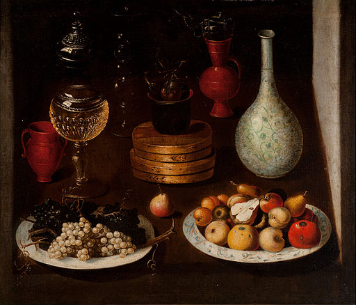Anonymous Madrid Painter - Fruit Bowl with Plates of Grapes and Pears, glass and clay Vessels - Google Art Project