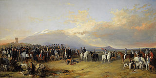 The Caledonian Coursing Meeting near the Castle of Ardrossan, the Isle of Arran in the Distance
