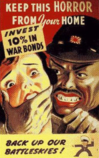 Stereotypes of East Asians in the United States - American anti-Japanese propaganda poster from World War II depicting a Japanese soldier threatening a white woman