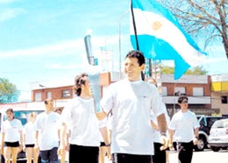 2006 South American Games - Cyclist Juan Curuchet with the South American Torch in Mar del Plata.