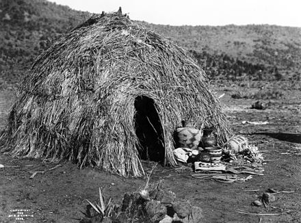 Apache wickiup, by Edward S. Curtis, 1903