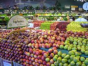 Different kinds of apple cultivars in a supermarket
