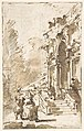 Architectural Capriccio- Garden Entrance to a Palace (recto); Three Masked and Costumed Figures and Other Figure Studies (verso) MET DP810412.jpg