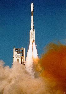 Ariane four rocket taking off past the tower