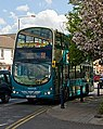 Arriva bus 4767 VDL DB250 Wright Pulsar Gemini YJ56 KFA Turn up and Go branding in Melton Mowbray, Leicestershire 25 April 2009.jpg