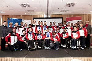 Austria at the 2014 Winter Paralympics - The Austrian Paralympic Team photographed on their return from Sochi