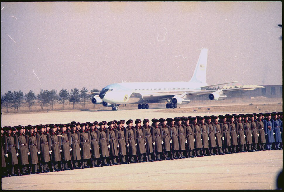 Arrival of Air Force One in Peking - NARA - 194412