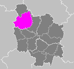Location of Auxerre in Bourgogne