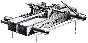 Cross-hatched drawing of a heavy, flat, clamp-like device.