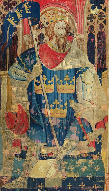 King Arthur is a legendary figure of Sub-Roman Britain who is said to have fought the invading Saxons. Tapestry in The Cloisters, New York. Arth tapestry2.jpg