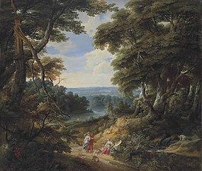 Jacques d'Arthois - Landschap met een kasteel en personen