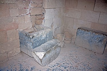 Artifacts in vaulting near acropolis of Lindos church.jpg