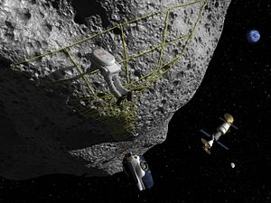 300px Artist Concept   Astronaut Performs Tethering Maneuvers at Asteroid Nasa to put man on asteroid by 2020s