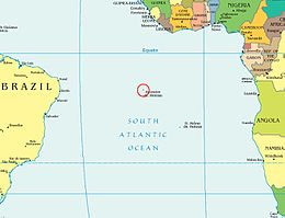 Location of Ascension Island in the British South Atlantic territories