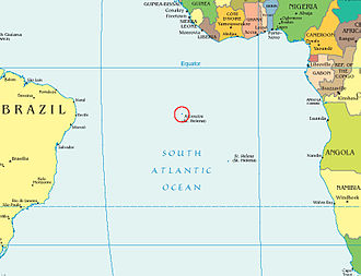 Ascension Island - Location of Ascension Island in the British South Atlantic territories