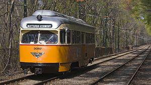 Ashmont–Mattapan High Speed Line - PCC Streetcar on the Ashmont-Mattapan High Speed Line
