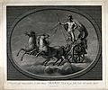 Astronomy; Mars with his sword, in his chariot. Engraving by Wellcome V0024877.jpg