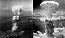 Two aerial photos of atomic bomb mushroom clouds, over two Japanese cities in 1945