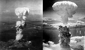 Two aerial photos of atomic bomb mushroom clouds, over two Japanese