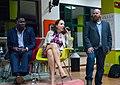 Aubrey Hruby Bitange Ndemo, Erik Hersman at iHub Kenya The Next Africa book event in 2015.jpg