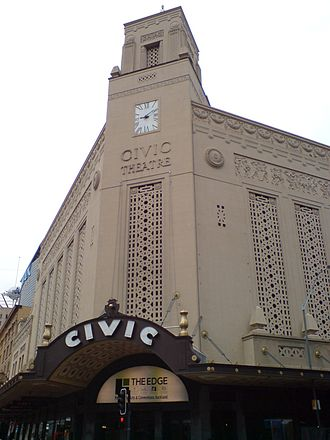 Atmospheric theatre - The front of the Auckland Civic Theatre, with its Indian Moghul palace motifs