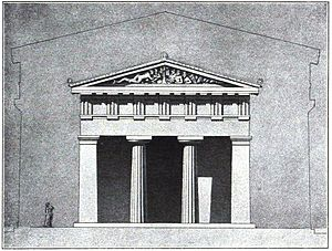 Acropolis of Athens - Proposed elevation of the Hekatompedon temple. Built between 570–550 BC, it stood where the Parthenon now stands. Fragments of the sculptures in its pediments are in the Acropolis Museum.