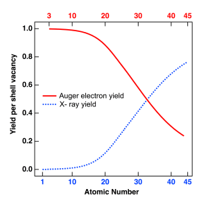 Auger electron spectroscopy - Figure 4. Fluorescence and Auger electron yields as a function of atomic number for K shell vacancies. Auger transitions (red curve) are more probable for lighter elements, while X-ray yield (dotted blue curve) becomes dominant at higher atomic numbers. Similar plots can be obtained for L and M shell transitions. Coster – Kronig (i.e. intra-shell) transitions are ignored in this analysis.