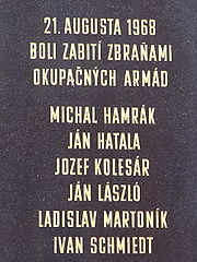 Prague Spring memorial plate in Košice, Slovakia