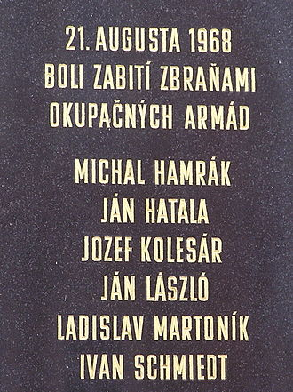 Civil rights movements - Prague Spring memorial plate in Košice, Slovakia