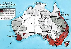 Lands administrative divisions of Australia - Population density map, 1921. Evenly divided units of land have little relevance in a country where the population is highly unevenly distributed.