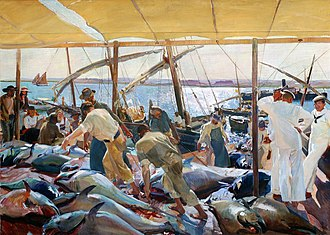 Archer Milton Huntington - Ayamonte or La pesca del atún (1919).  This is the last of Joaquin Sorolla's 14 murals completed for the Hispanic Society in Manhattan.