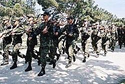 Azerbaijani interior guard troops on training.