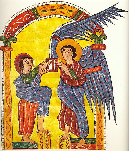 The angel gives John the letter to the churches of Asia, Beatus Escorial, circa 950. B Escorial a.jpg