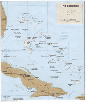 Outline of the Bahamas - An enlargeable relief map of the Commonwealth of the Bahamas