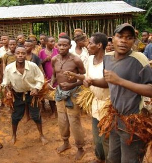 Pygmy peoples - Baka pygmy dancers in the East Province of Cameroon.
