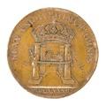 Baksida av medalj med bild av fyra kolonner samt kunglig krona - Skoklosters slott - 99256.tif