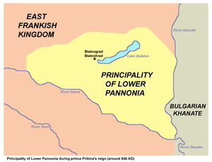 Map of the main part of the Balaton principality (parts of the Dudleb County, of the Ptuj County, of the whole former Principality of Etgar, as well as territories in the east of the Danube and in the south of the Drava are not shown on this map)