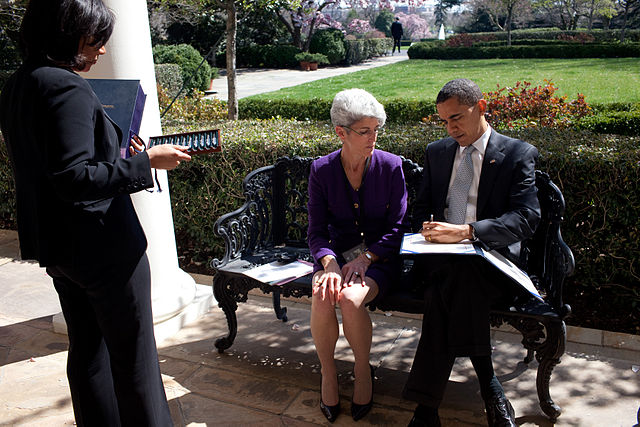 'Barack Obama signing documents outside the Oval Office.jpg' by The Official White House Photostream