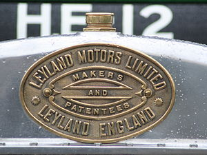 Leyland Motors - Builder's plate