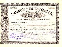 United kingdom company law wikipedia a 1903 stock certificate of a circus business barnum bailey showing an issue price of 1 a share the american business founder p t barnum was known yadclub Gallery