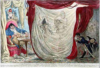 Caricatura datata 1805 ed opera di James Gillray: Barras intrattenuto dalla danza di due giovani nude, mogli di altrettanti personaggi famosi, Thérésa Tallien e Giuseppina Bonaparte