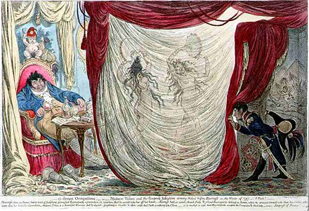 James Gillray's caricature of 1805. Barras being entertained by the naked dancing of two wives of prominent men, Theresa Tallien and Josephine Bonaparte. On the right, Napoleon Bonaparte takes a peek. Barras1797.jpg